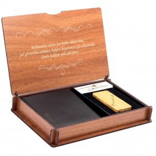 İsim Yazılı Erkek Gerçek Deri Cüzdan Kalem Ve Not Yazılı Ahşap Kutu