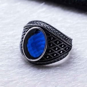 Mavi Cz Taşlı Erkek Gümüş Yüzük