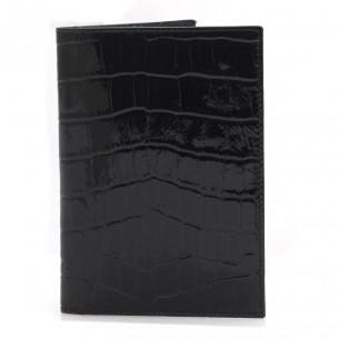 Timsah Baskılı %100 Gerçek Siyah Deri Pasaportluk