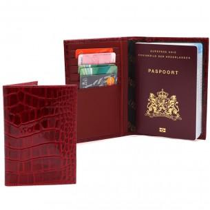 Timsah Baskılı %100 Gerçek Kırmızı Deri Pasaportluk