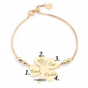 Sterling Silver Clover Name Bracelet, Four Leaf Clover