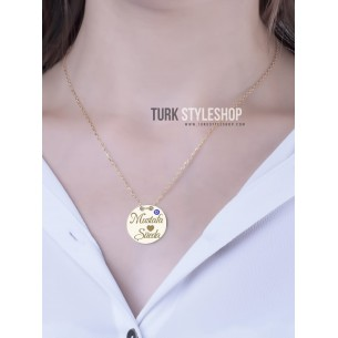 Sterling Silver Medallion Name Necklace