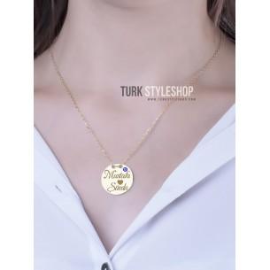 Madalyon Nazarlıklı  iKi İsimli Gümüş Kolye
