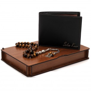 Personalized Leather Wallet & Tiger Eye Tasbih Gift Set