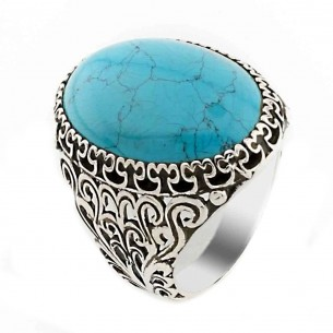 Turquoise Stone Signet Ring in 925s Silver