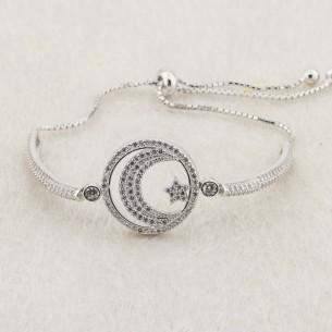 Sterling Silver Moon Star Bead Bolo Bracelet