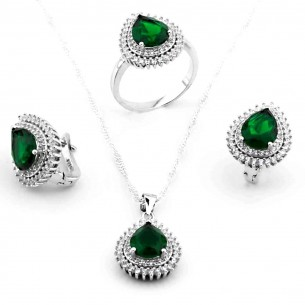 Jewelry Set: Necklace Ring and Drop Earrings in Sterling Silver