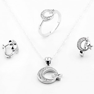 Moon Star Jewelry Set Necklace Ring and Earrings in Sterling Silver
