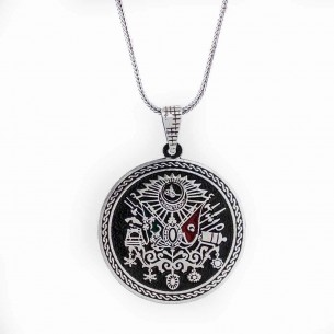 925s Silver Ottoman Coat of Arm Men's Necklace