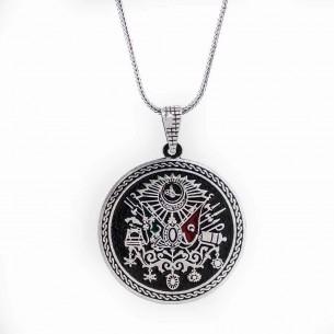 Osmanlı Tuğralı Büyük Erkek Gümüş Kolye