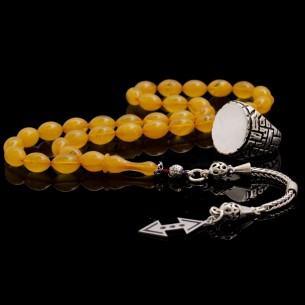 Cukur Men Silver Ring  Artificial Amber Tasbih