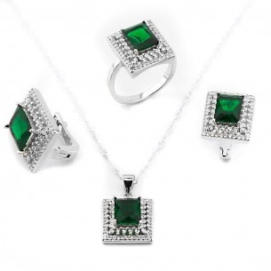 Jewelry Set: Necklace Ring and Earrings in Sterling Silver