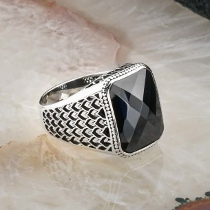 Black Cz Stone 925s Silver Ring