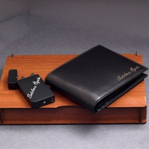 Personalized Leather Wallet  Arc Lighter USB Set