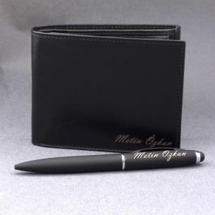 Personalized Leather Wallet & Pen Set