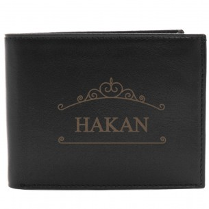 Personalized Black Leather Wallet