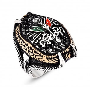 925s Silver Ottoman Coat of Arm Men's Ring