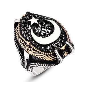 Moon Star Double Headed Eagle Mens 925s Silver Ring