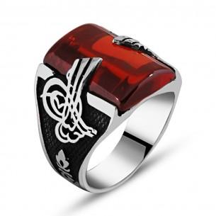 Osmanlı Tugrali Kırmızı Tasli Gümüş Yüzük