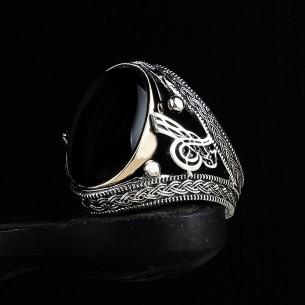 Osmanlı Tugrali Siyah Tasli Gümüş Yüzük