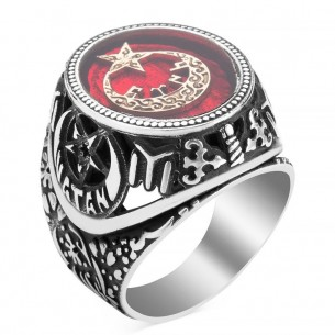 Moon Star Red Mina 925s Silver Ring