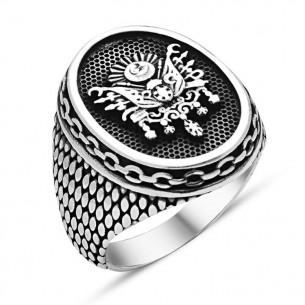 Osmanlı Devlet Armalı Erkek Gümüş Yüzük