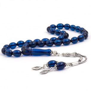 Orjinal Koyu Mavi Kehribar Gümüş Püsküllü Tesbih