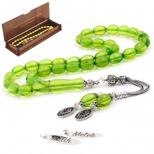 Blue Amber Tasbih With 925s Silver Tassle (10mm*8mm)
