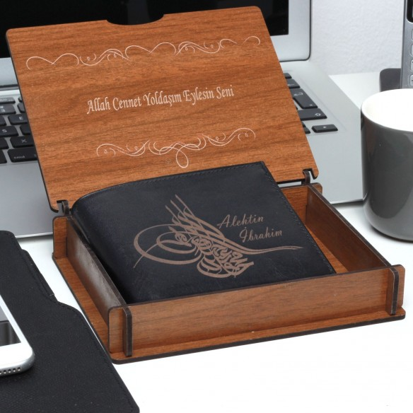 Personalized Ottoman Tugra Leather Wallet With Giftbox