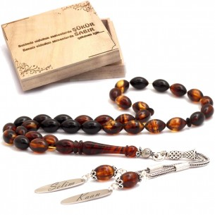 Aficial Amber w 925 Sterling Silver Tassel Tesbih Prayer Beads