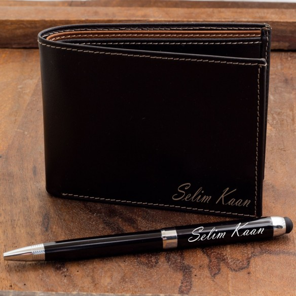 Personalized Leather Wallet & Pen Set