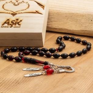 Sıkma Kehribar Tesbih - Bernstein Gebetskette mit Namen aus 925 Silber