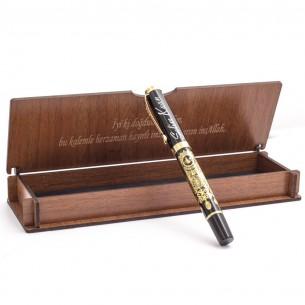 Osmanlı Armalı İsimli Roller Kalem ve Ahsap Hediye Kutu