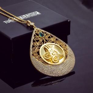 925s Silver Ottoman Tugra Signet Necklace