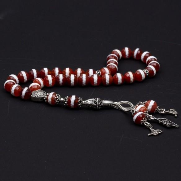 Jasper Stone Silver Prayer Beads