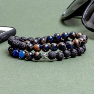 925er Silber initialen Armband mit Quarz und Onyx Stein