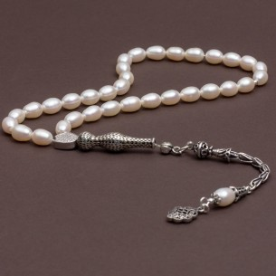 Mother of Pearl Stone Tesbih Misbaha with 925s Silver Tassel
