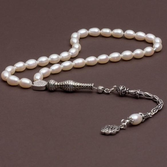Pearl Stone Tesbih Misbaha with 925s Silver Tassel