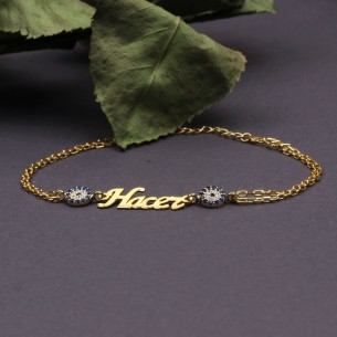 Name Evil Eye Bracelet in Sterling Silver