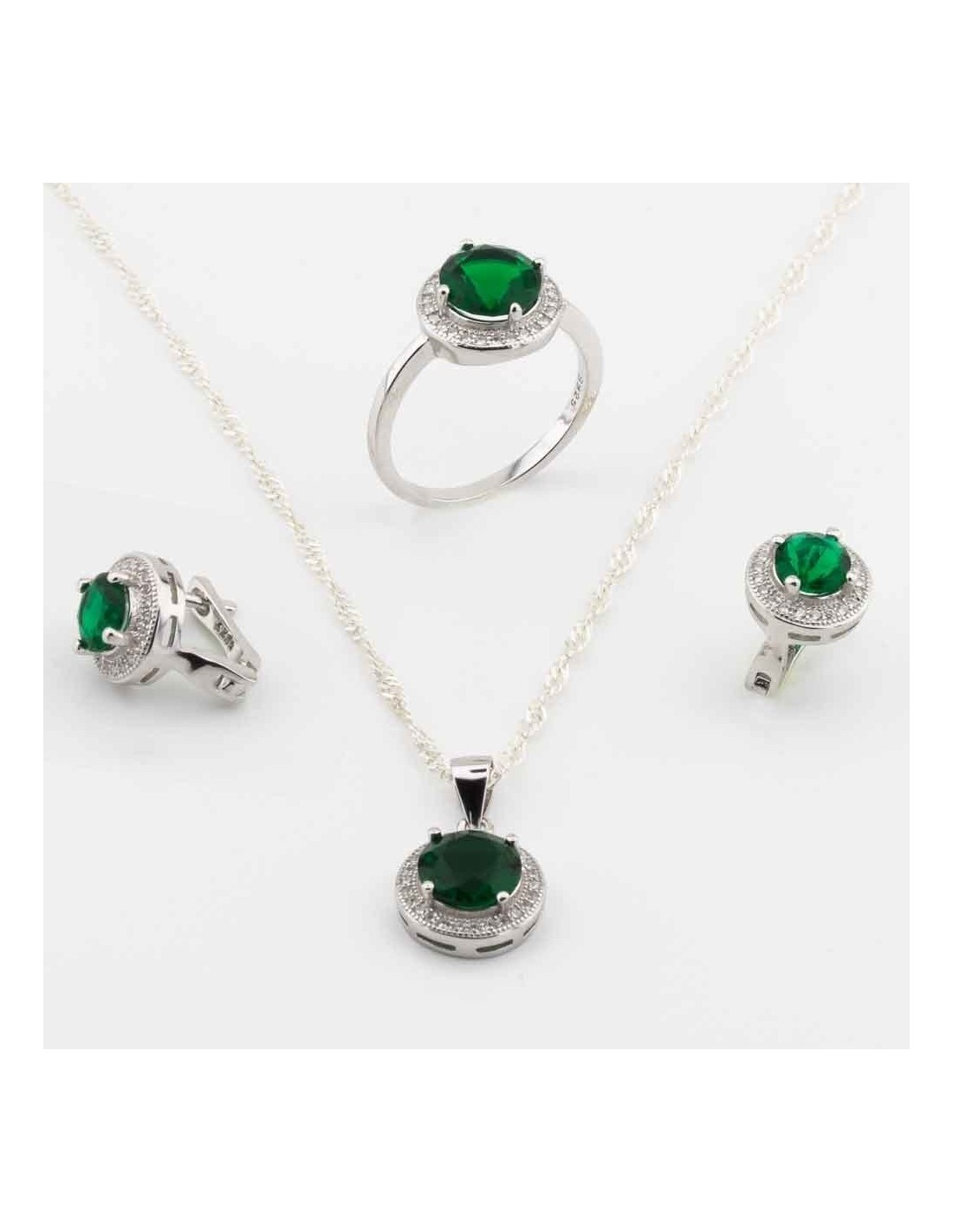 a468e17952dd3 Jewelry Set: Necklace Ring and Earrings in Sterling Silver