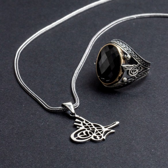 Man Necklace And Ring Set in 925 Sterling Silver