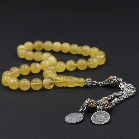 Genuine Amber Tasbih With 925s Silver Tassle
