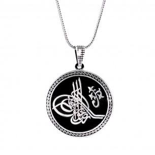 Osmanlı Tuğralı Büyük 925 Ayar Gümüş Erkek Kolye