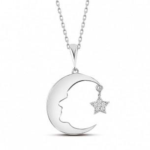 Ay Yıldız Atatürk Silüeti 925 Ayar Gümüş Kolye