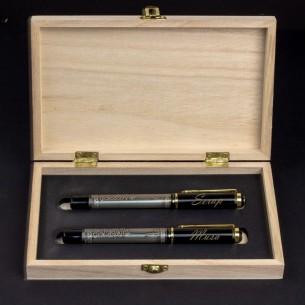 Eşlere Özel Besmele İsimli Kalem Seti ve Not Yazılı Ahşap Kutu