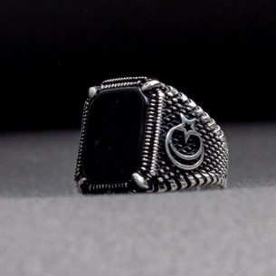 Herrenring 925er Silber mit Onyx