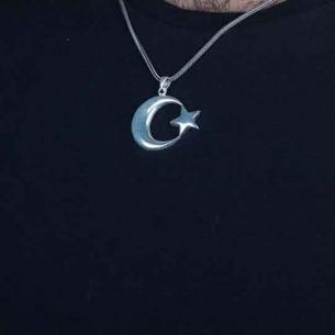 925 Ayar Gümüş Ay Yıldız Erkek Kolye