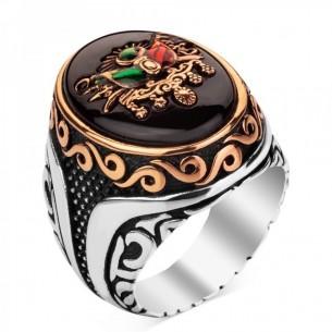Siyah Taşlı Osmanlı Tuğrası Gümüş Yüzük