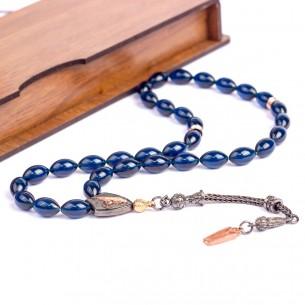 Sıkma Kehribar Tesbih - Bernstein Gebetskette aus 925 Silber