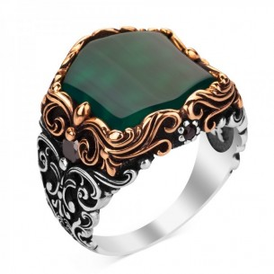 Green Aqeeq Stone Handmade 925 Sterling Silver Ring